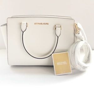 NWT Michael Kors White Leather Medium Selma Bag